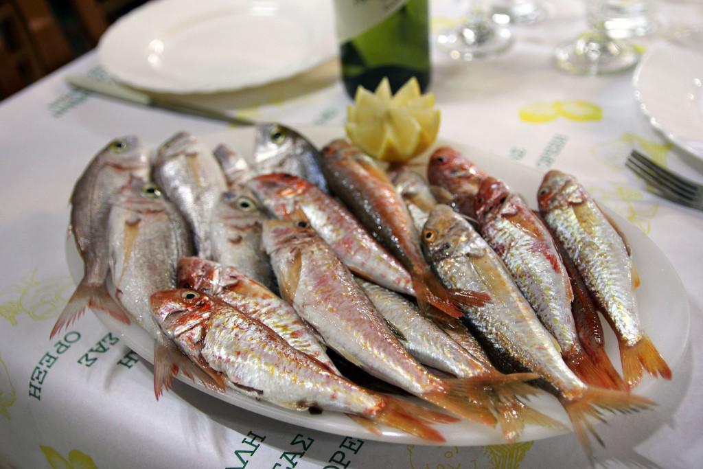 freshly caught fish at Gold Lemon restaurant