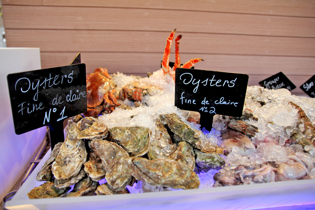 fresh oysters on display