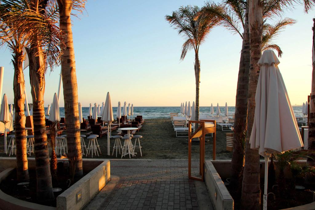 high-quality beach beds and umbrellas