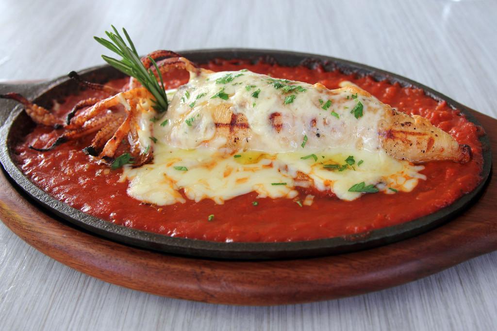 Stuffed grilled calamari with feta cheese at Malindi