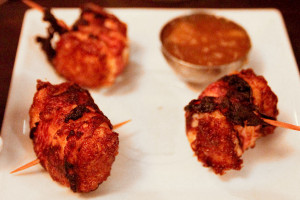 Halloumi wrapped in bacon