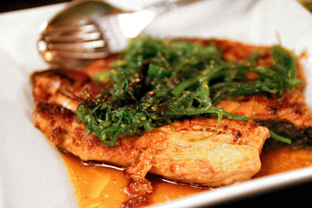 Fried salmon in an oyster and soy sauce