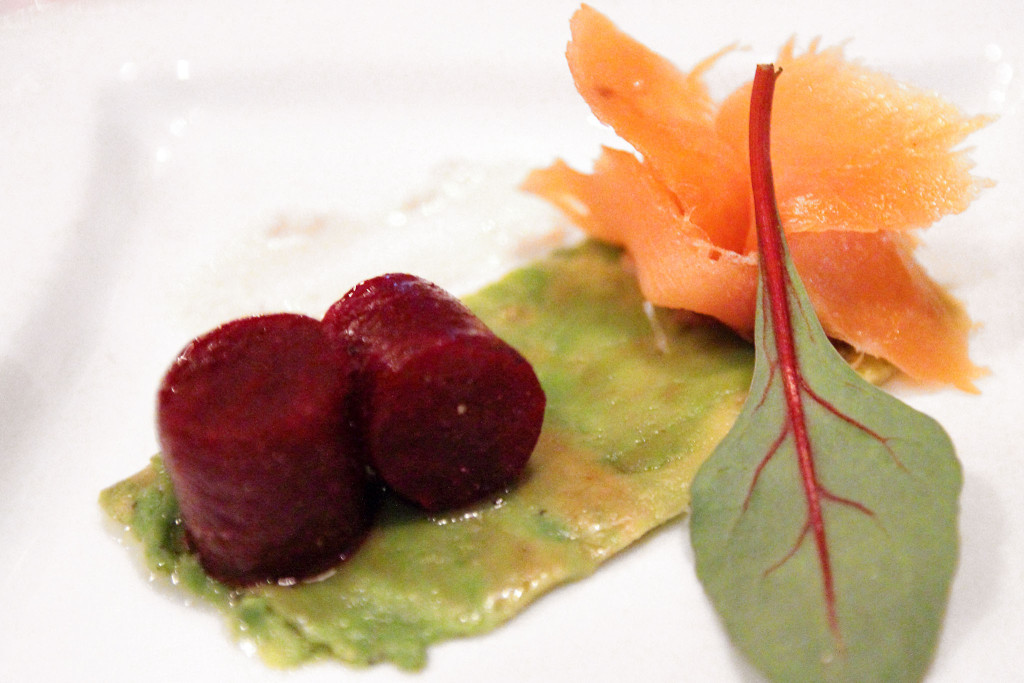 carpaccio of beetroot and avocado with smoked salmon
