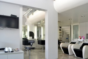the modern interior of Stratos Art Hair salon