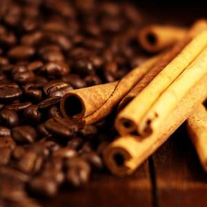 coffee beans and cinammon sticks