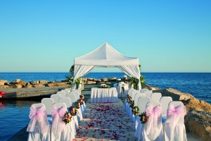 Amathus Beach Hotel - Wedding set up on pier