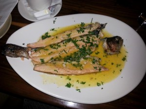 trout with garlic sauce at The Mill