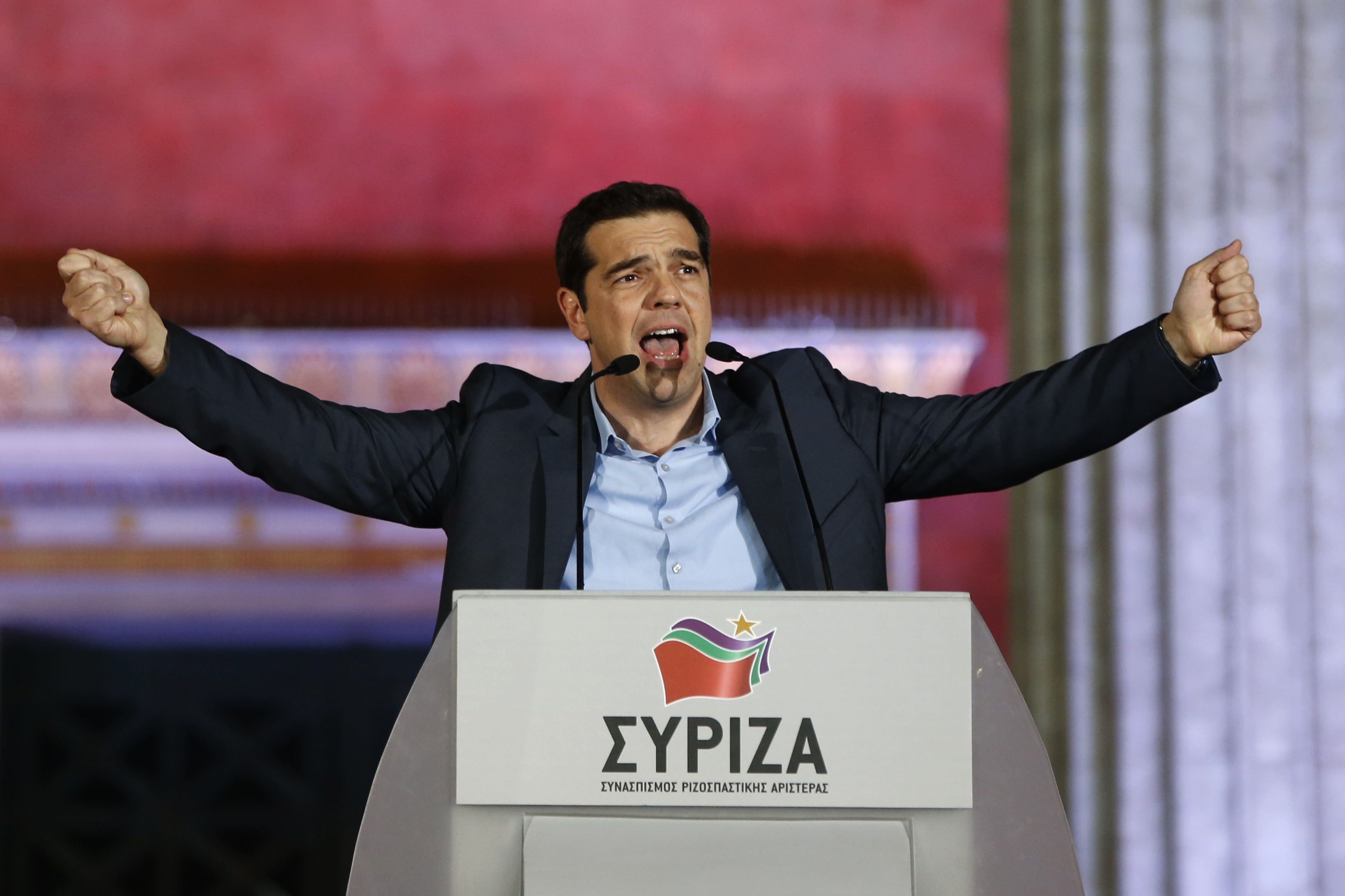 "The head of radical leftist Syriza party Alexis Tsipras speaks to supporters after winning the elections in Athens January 25, 2015. Tsipras promised on Sunday that five years of austerity, ""humiliation and suffering"" imposed by international creditors were over after his Syriza party swept to victory in a snap election on Sunday.      REUTERS/Marko Djurica    (GREECE - Tags: POLITICS ELECTIONS)"