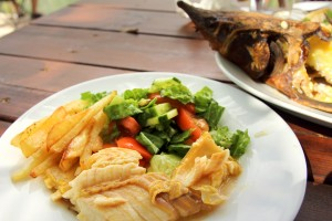 A dish of smoked sturgeon on the farm The Land of Dreams