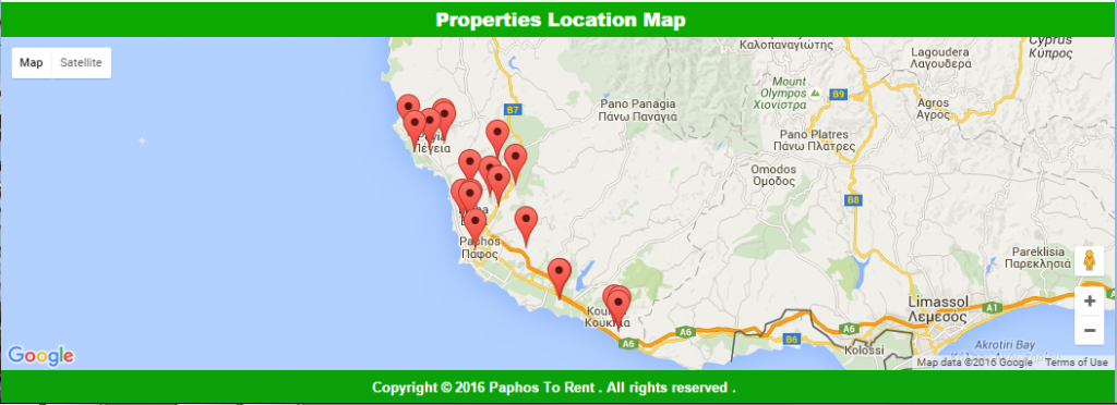 Paphos to Rent map