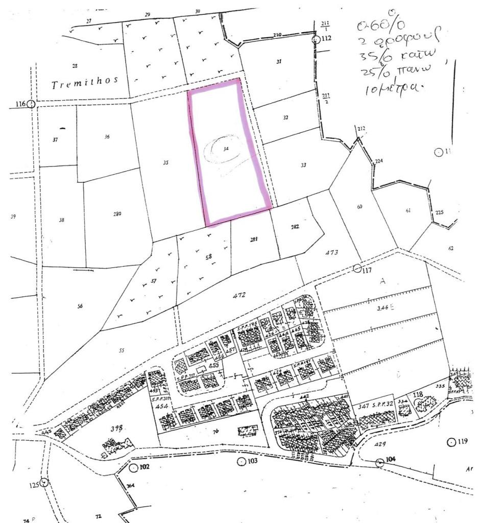План участка земли в районе Chloraka