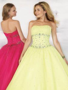 Розовое и желтое свадебные платья
