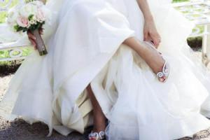 Текстильные свадебные туфли