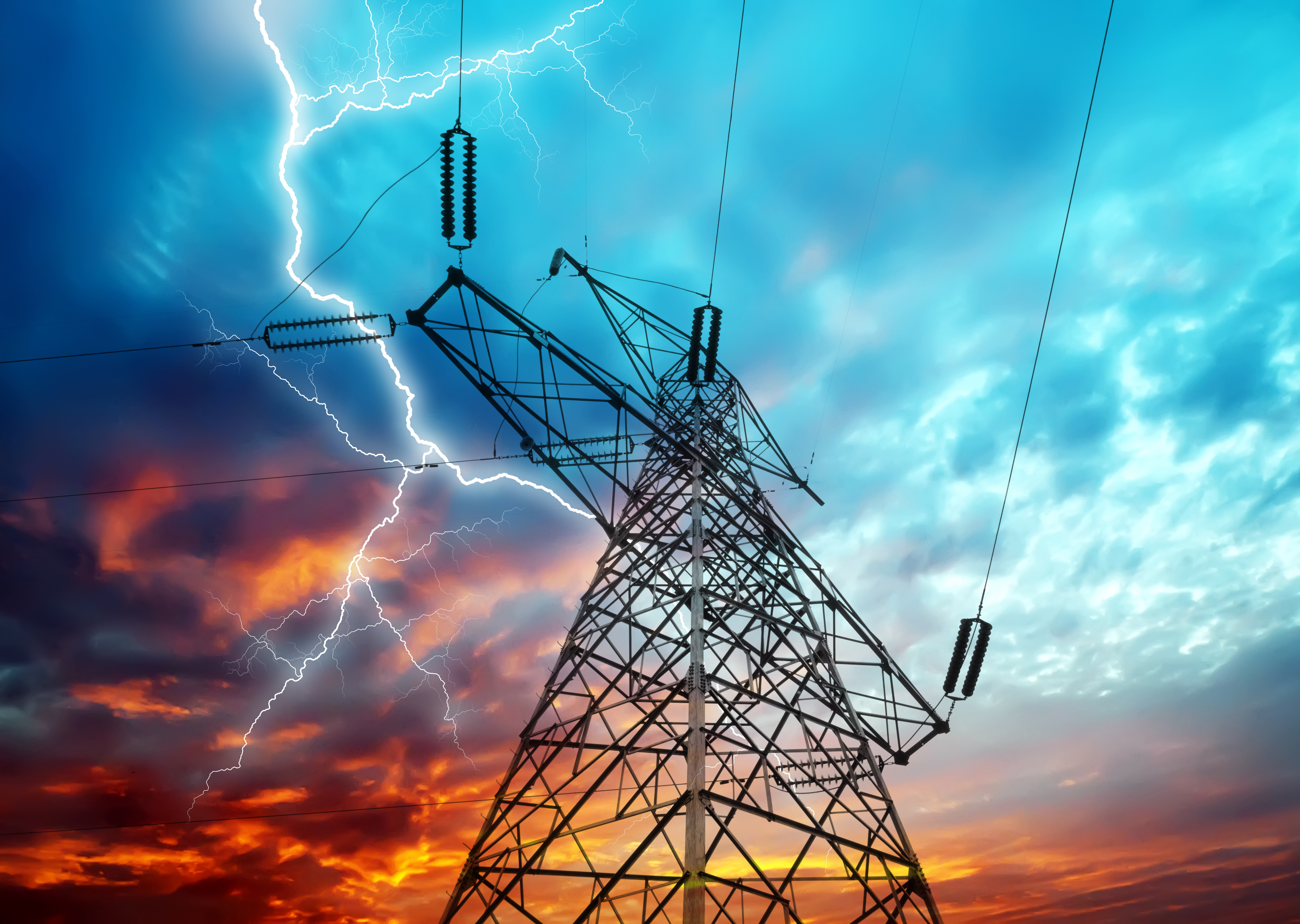 Dramatic Image of Power Distribution Station with Lightning Striking Electricity Towers