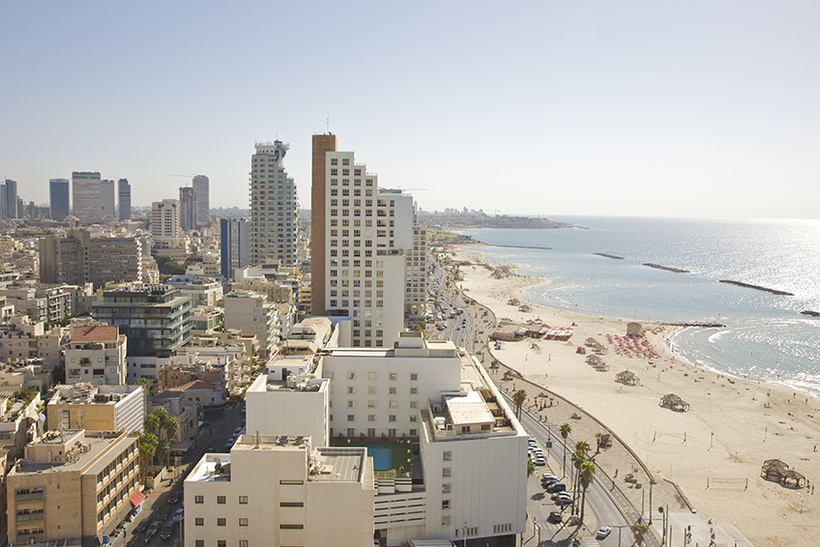 View from high up at Tel Aviv Sheraton Hotel looking south at city of Tel Aviv and Mediterranean Sea beach, late afternoon, Tel Aviv, Israel.
